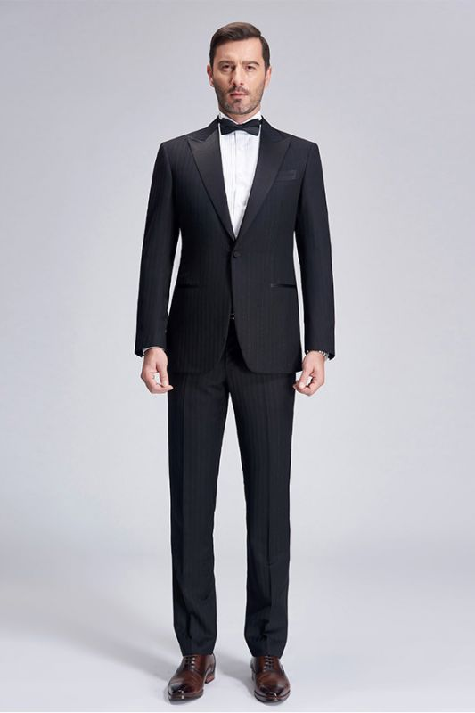 Popular Silk Peak Lapel Black Mens Suits for Wedding | One Button Stripes Cheap Wedding Tuxedo