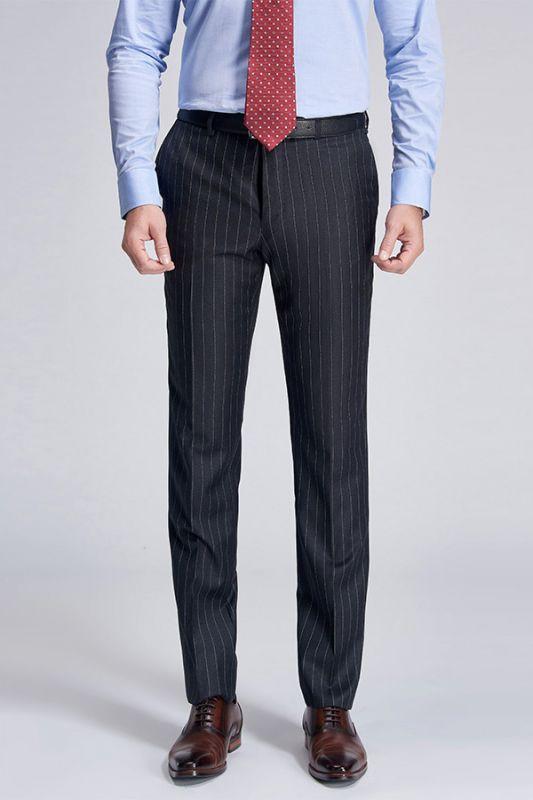 Gentlemanly Light Grey Stripes Straight Dark Grey Suit Pants for Men