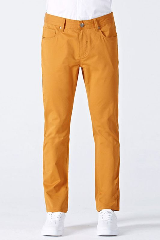 Orange Cotton Made-to-Order Solid Mens Casual Trousers