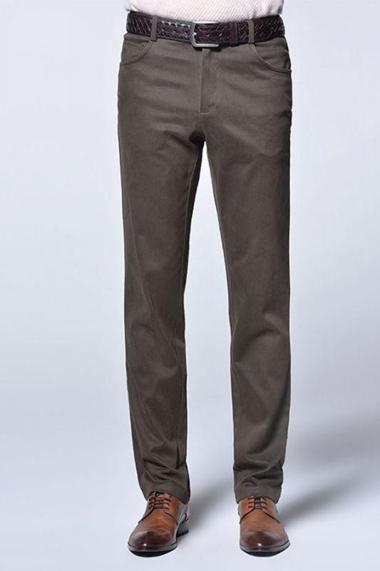 Brown Cotton Slim Fit Fashionable Casual Pants for Men