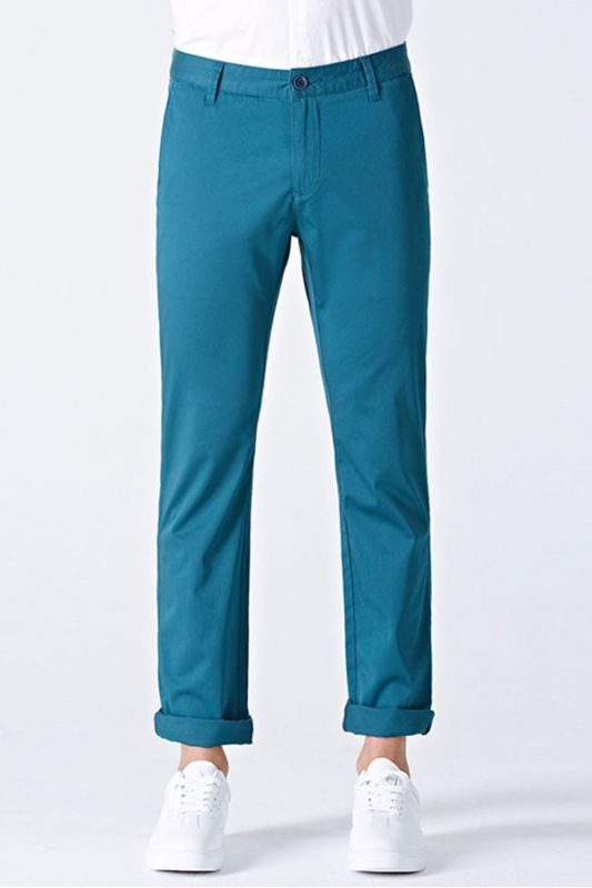 Casual Blue Cotton Solid Daily Mens Ninth Pants