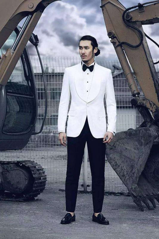 Stylish Shawl Lapel Wool Custom Mens Suits Cheap | Two Piece White Tuxedo Mens Suits for Wedding
