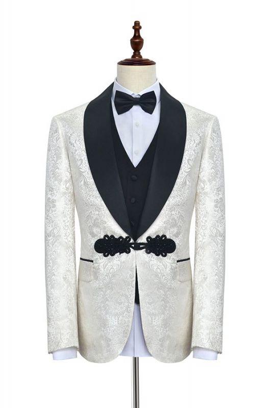 Stylish Knitted Button Black Shawl Lapel Three Piece White Jacquard Wedding Tuxedo for Men