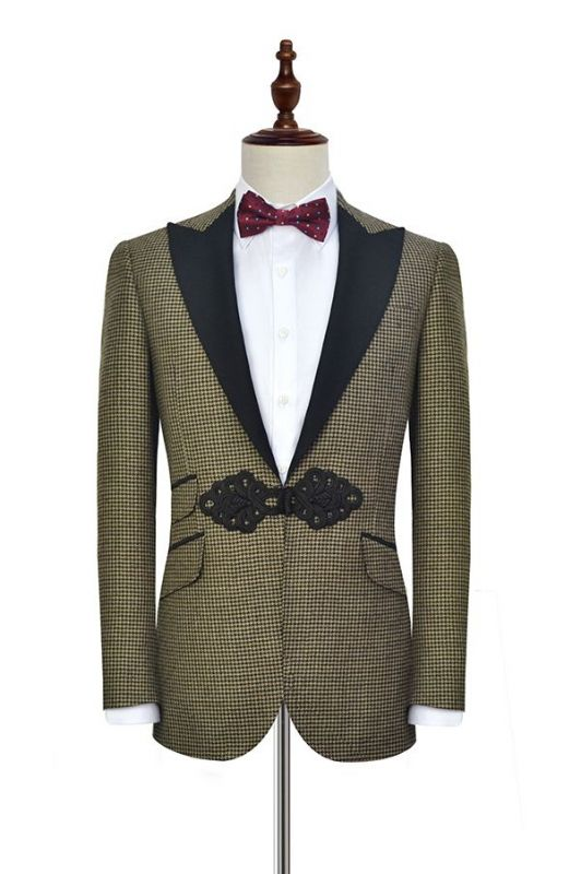 Retro Small Checked Prom Suits Cheap | Knitted Button Black Peak Lapel Wedding Suits for Men