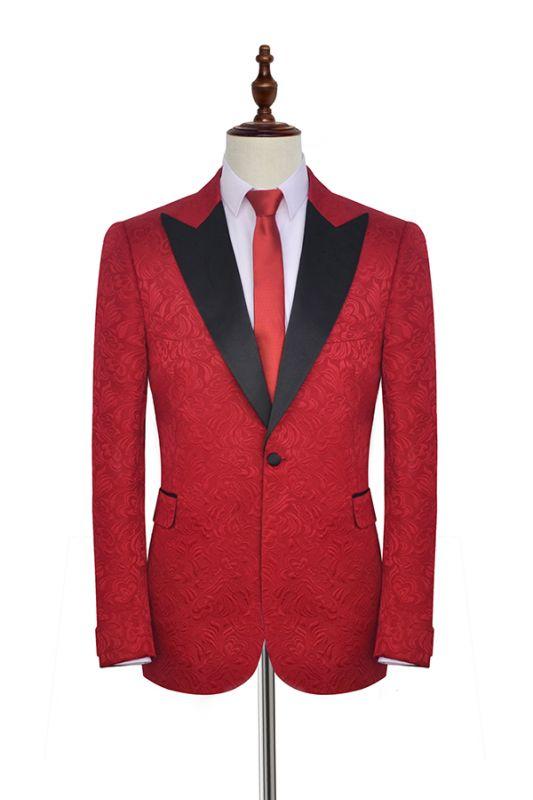 Bright Red Jacquard Peak Lapel with Black Silk Unique Mens Suits