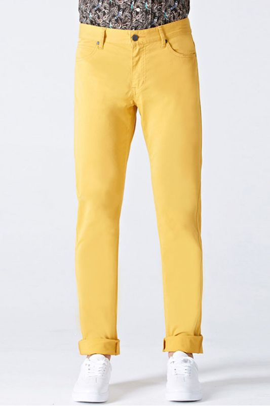 Daily Bright Yellow Small Cuff Anti-wrinkle Casual Mens Pants