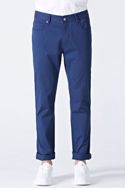 Modern Curl-Up Blue Cotton Solid Mens Ninth Pants for Leisure Suits