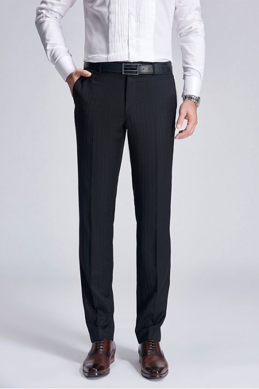 Classic Light Stripes Wedding Pants for Groom | Trey Formal Black Suit Pants