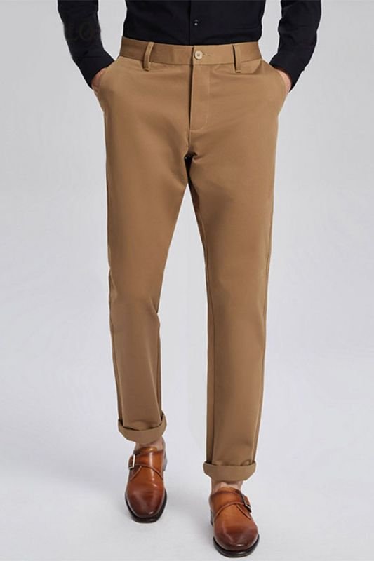 Daily Made-to-Order Khaki Cotton Business Pants for Men