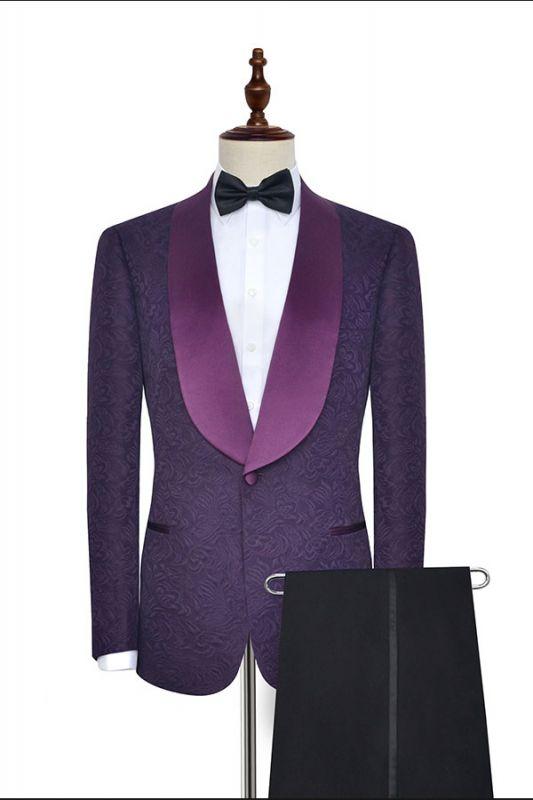 Luxury Dark Purple One Button Wedding Tuxedos   Silk Shawl Lapel Jacquard Prom Suits