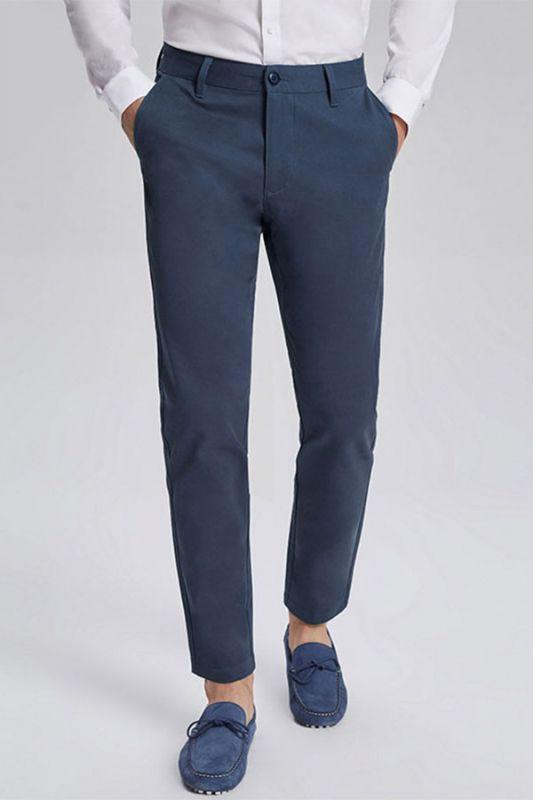 Dark Navy Cotton Fashionable Mens Casual Ninth Pants
