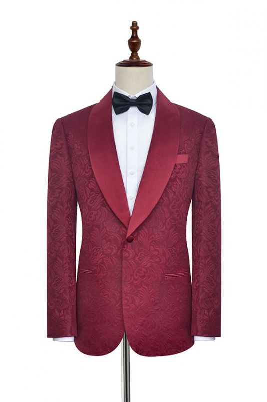 Luxury Burgundy Jacquard One Button Silk Shawl Lapel Mens Suits for Wedding and Prom