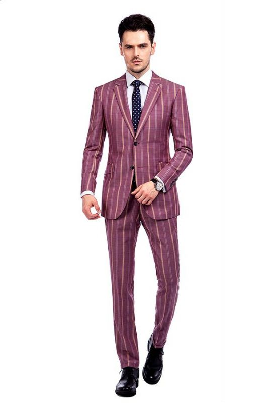 Modern Check Patten Red Purple Mens Suits