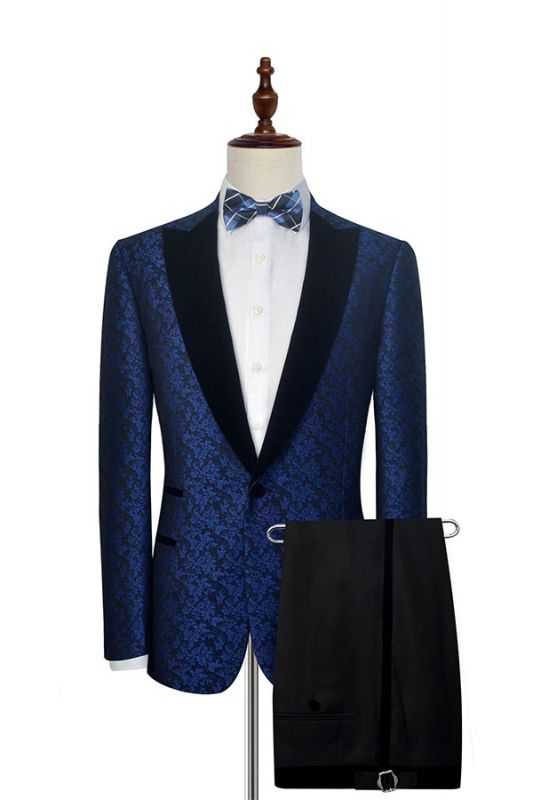 Luxury Blue Floral Patter Tuxedos for Wedding | Black Velvet Peak Collar Cheap Prom Suits