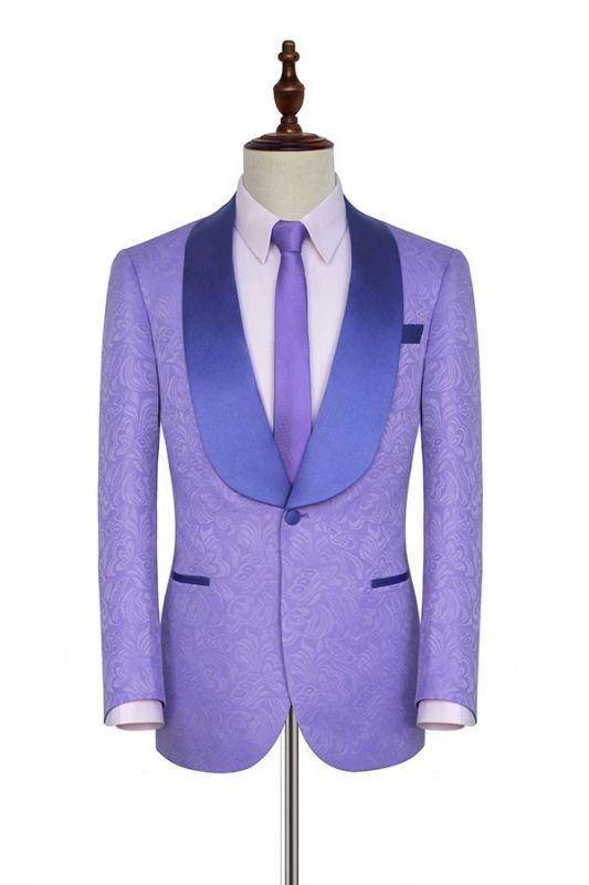 Lavender Jacquard Silk Shawl Lapel Bespoke Prom Suits