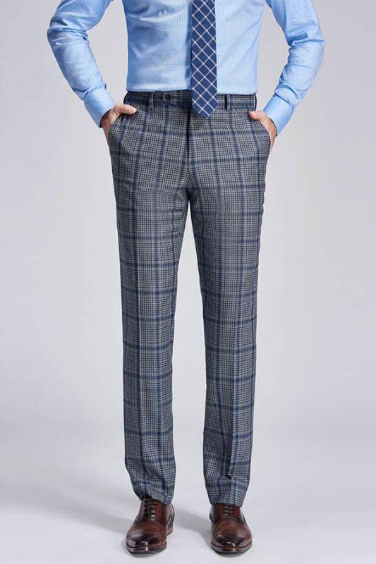 Keith Stylish Plaid Grey Formal Mens Suit Pants