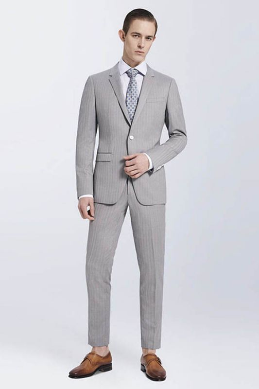 Small Notch Lapel Light-colored Stripes High Quality Light Grey Mens Suits