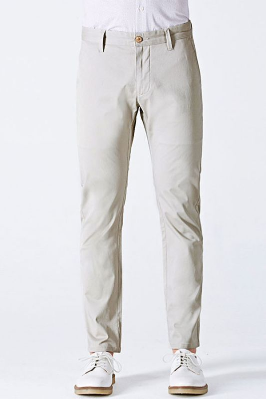 Simple Cotton Off-White Mens Casual Pants for Daily