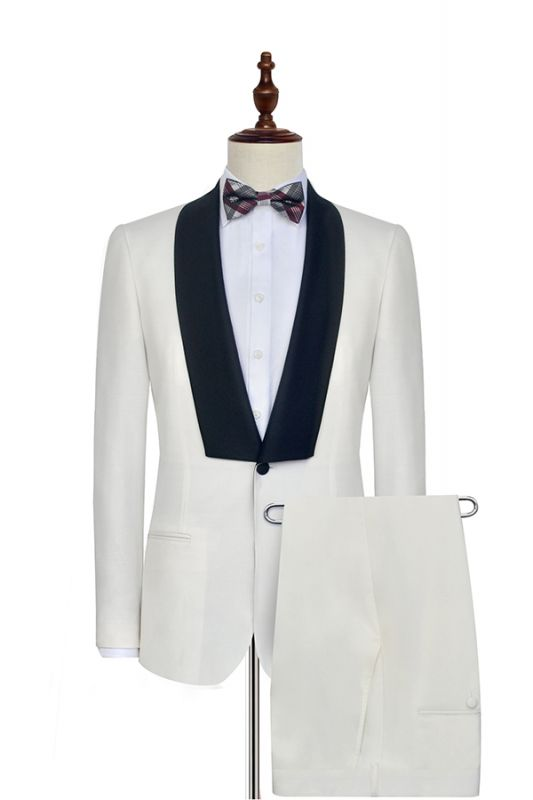Black Knife Collar Classic White Wedding Suits for Men | One Button Wedding Tuxedos Cheap