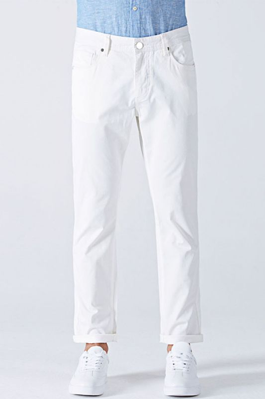 Fashionable White Cotton Solid Casual Mens Ninth Pants
