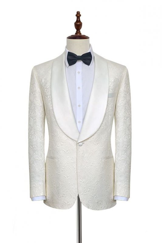 Popular Jacquard White Tuxedos for Wedding | Silk Shawl Lapel One Button Wedding Suit for Men