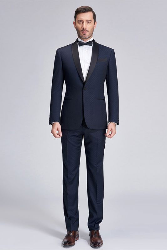 Gentle Blue Dots Shawl Lapel Wedding Tuxedos | Dark Navy Wedding Suits for Men