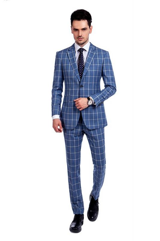 Light-colored Plaid Blue Fashionable Mens Suits for Formal