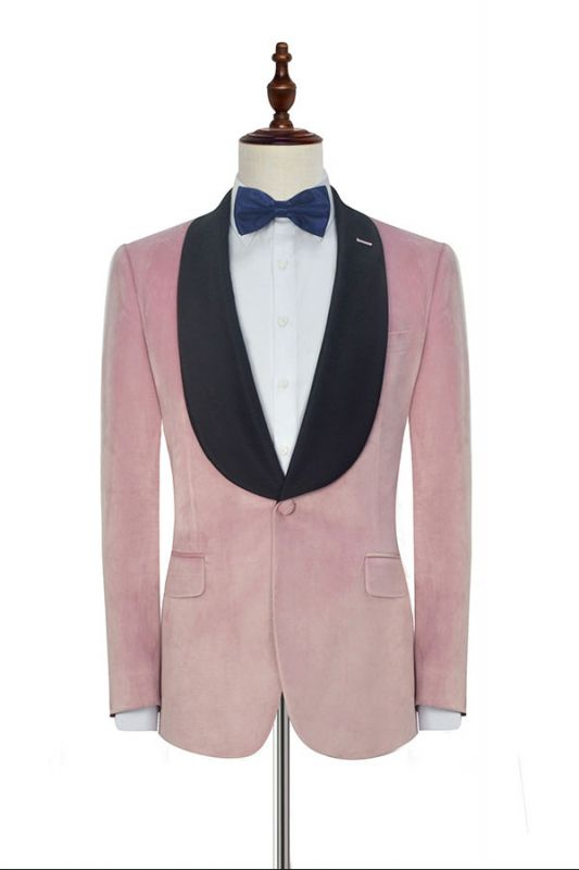 Stylish Pink Velvet Wedding Tuxedos Cheap | Black Silk Shawl Lapel Prom Suits for Men