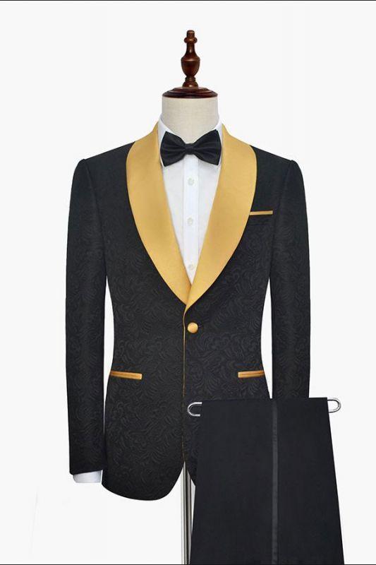 Gold Shawl Lapel One Button Wedding Tuxedo | Black Jacquard Cheap Prom Suits