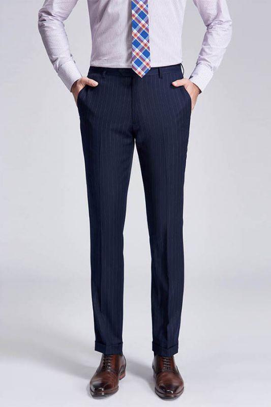 Light Grey Pinstripe Stylish Dark Navy Men's Suit Pants for Formal