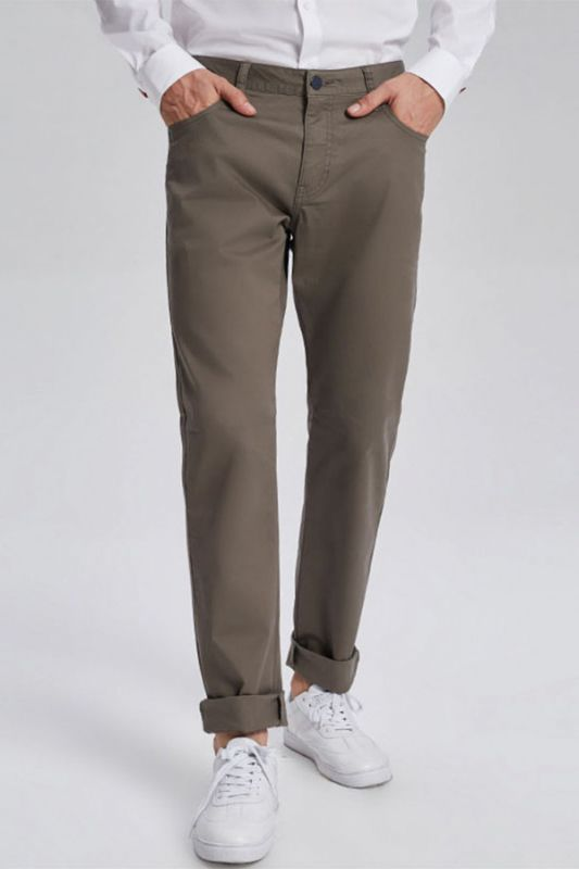 Fashionable Olive Green Cotton Roll-Up Cuff Mens Pants for Casual