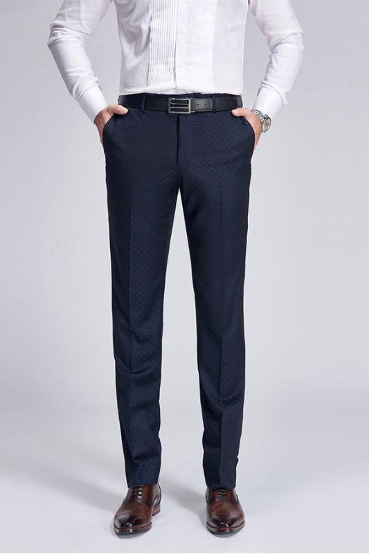 Stylish Blue Dots Dark Navy Suit Pants for Weddings