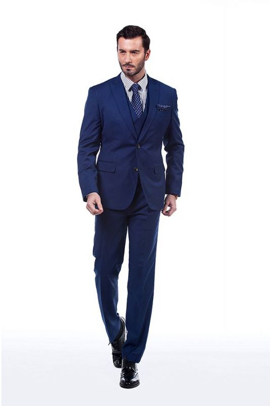 Premium Peak Lapel Navy Blue Three Piece Suits for Men with Double Breasted Vest