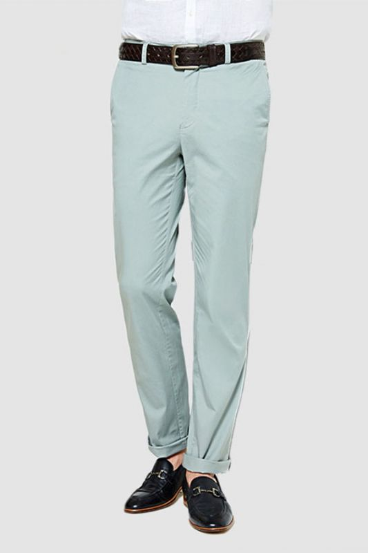 Light Mint Cotton Pants Summer Mens Daily Casual Trousers