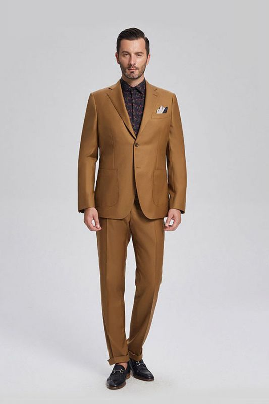 Silas Stylish Patch Pocket Gold Brown Mens Suits for Formal