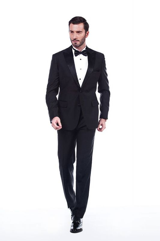 Popular Silk Peak Lapel Two Buttons Solid Black Wedding Suits for Men