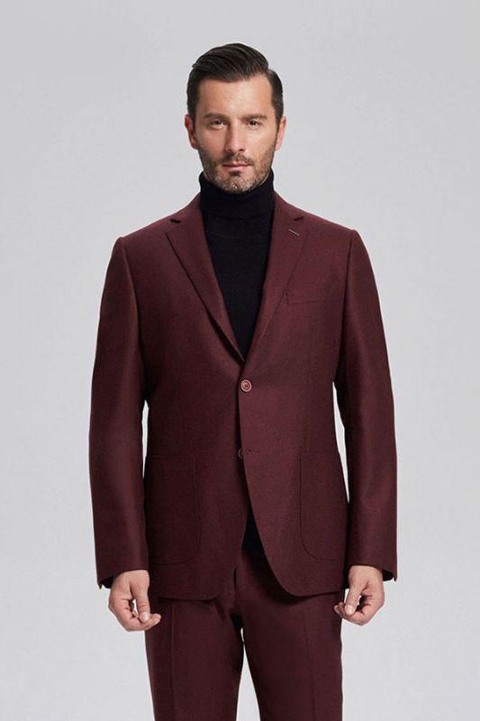 Unique Burgundy Solid Patch Pocket Chic Mens Suits Sale
