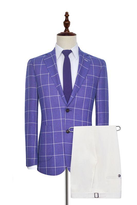 Check Pattern Patch Pocket Purple Mens Suits   Notch Lapel Formal Suits for Men