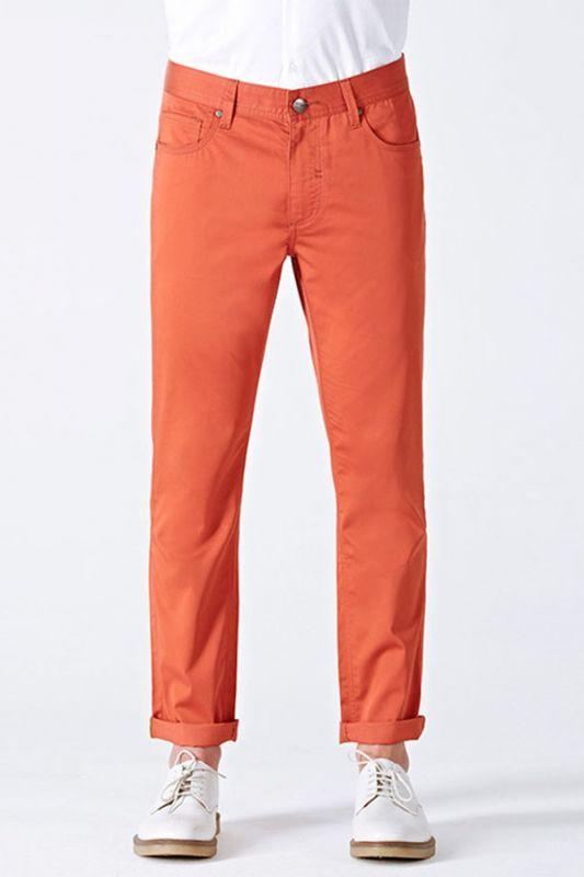 Dynamic Orange Cotton Fahionable Casual Pants for Men