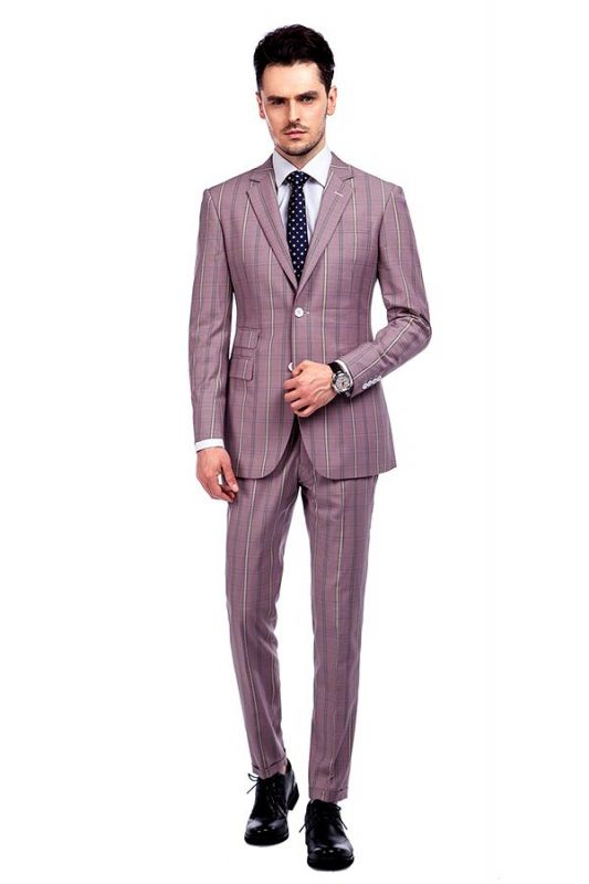 New Coming Plaid Pink Mens Suits with Flap Pocket