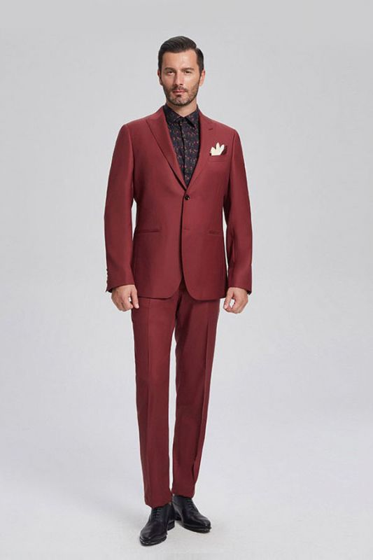 Popular Red Suits for Prom   Peak Lapel Mens Suits for Business
