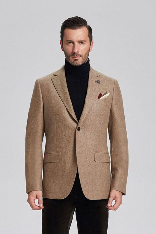 Classic Khaki Mens Daily Blazer Jacket for Suit