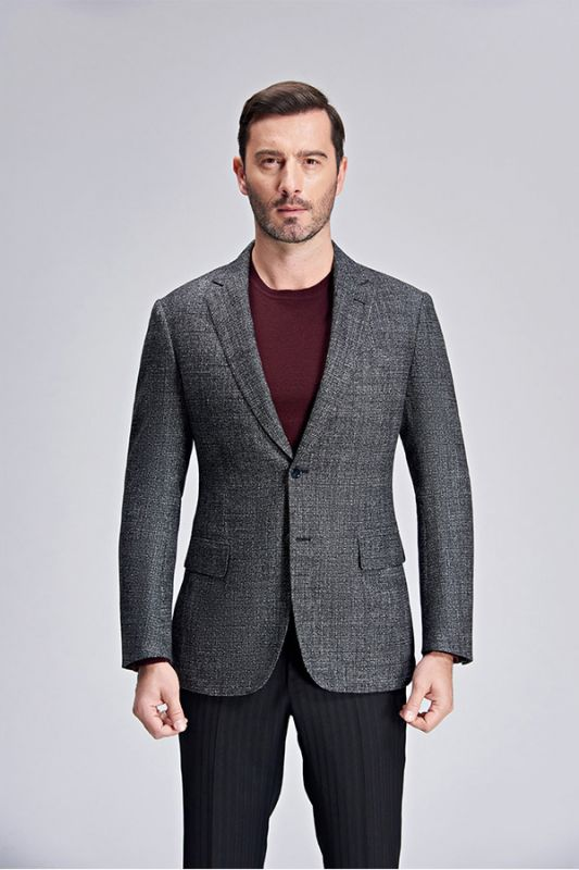 Classic Grey Blazer for Men Formal Business Jacket for Casual