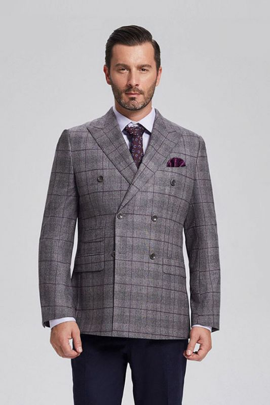 Elegant Grey Plaid Double Breasted Blazer Jacket for Men with Flap Pockets