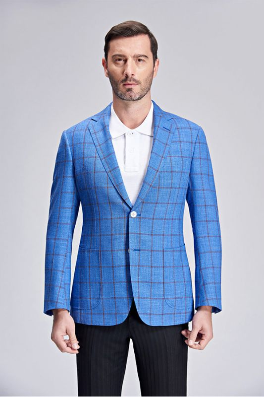 Brown Plaid Bright Blue Casual Blazer Jacket with Patch Pocket