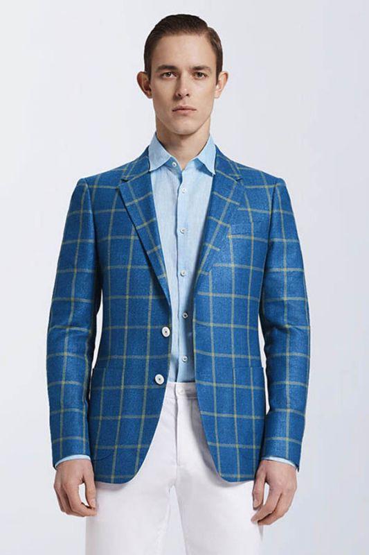Stylish Blended Plaid Casual Blue Blazer Jacket for Prom