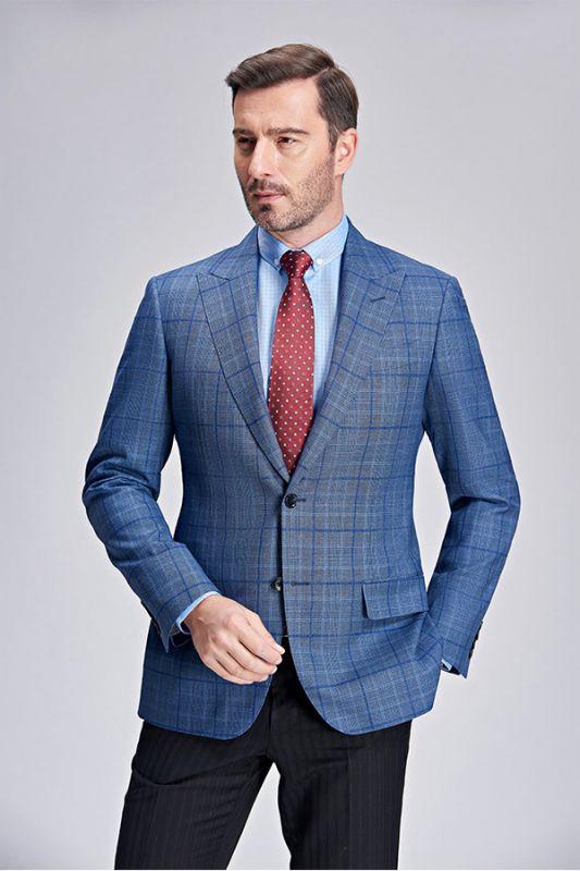 Peak Lapel Plaid Blazer for Men   Modern Blue Blazer Jacket New