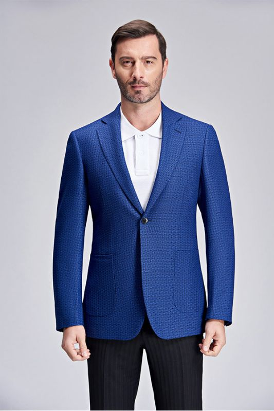 Casual Chic Dots Patch Pocket Fashionable Blue Blazer Jacket for Men