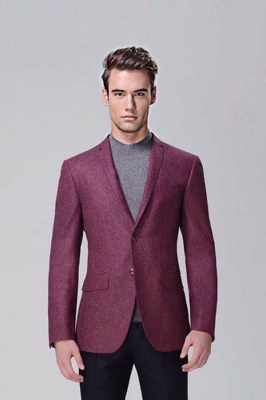 Fashionable Red Violet Business Thick Blazer Jacket for Casual