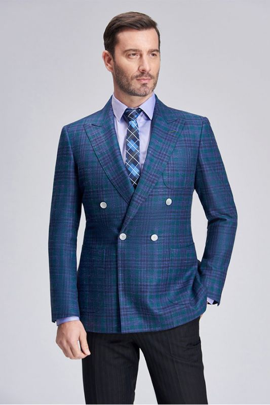 Formal Peak Lapel Plaid Double Breasted Blue Mens Blazer Jacket for Business